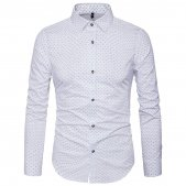MUSE FATH Mens Printed Dress Shirt-100% Cotton Casual Long Sleeve Shirt-Regular Fit Button Down Point Collar Shirt